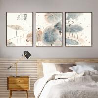新中式装饰画客厅沙发背景墙三联画山水画办公室挂画中国风壁画SN6745 30*40CM 简约白框 三幅套装()