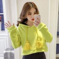 【+加厚】秋冬女韩版卫衣加绒加厚短款连帽卫衣