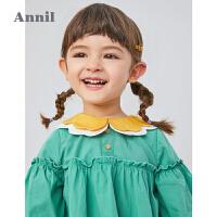 【2件3折价:59.7】安奈儿童装女童衬衣翻领长袖2020新款洋气宝宝裙衣春秋装装宽松型