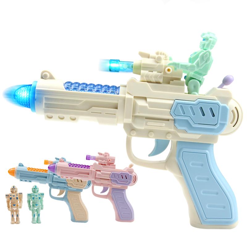 1-2-3岁小孩迷你投影电动枪声光男孩益智耐摔儿童宝宝玩具枪 电动八音枪【颜色随机】+机器人 送2节7号电池