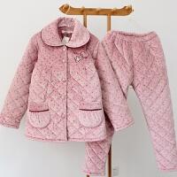 冬季三层加厚夹棉睡衣加肥加大200斤珊瑚绒中老年妈妈家居服女5XL