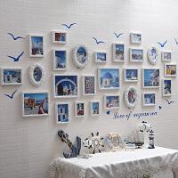 地中海实木 照片墙 贴纸客厅欧式卧室 相框组合 挂墙 相片墙创意
