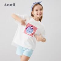 【抢购价:49.9】安奈儿童装女童T恤网纱拼接网红上衣2020新款洋气中大童短袖T恤夏