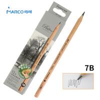 MARCO/马可 7001-12CB 高级绘图铅笔12支装/7B 原木杆初学者素描笔专业美术用品画材套装速写笔儿童全灰