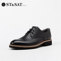 St&Sat/星期六2019春夏新款男鞋商务系带皮鞋英伦风男SS91120701