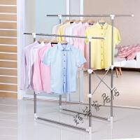 晾衣架室内落地折叠伸缩双杆晒衣架阳台不锈钢挂衣服架子