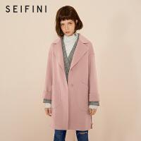 诗凡黎冬新款全羊毛双面呢大衣小个子粉色毛呢外套女学生