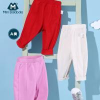 【2020春新品 2件8折】迷你巴拉巴拉儿童裤子女宝宝加绒长裤2020春装新款婴儿宽松休闲裤