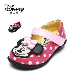 【达芙妮集团】迪士尼 秋季甜美魔术贴女童鞋卡通蝴蝶结公主鞋