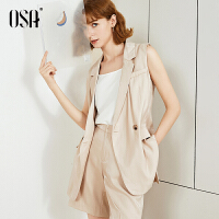 【2件5折】OSA欧莎西装套装女2019新款夏短裤两件套无袖职业装气质女神范