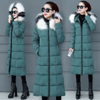冬季女士韩版长款连帽修身过膝加厚大码显瘦保暖棉衣外套 M 建议85-100斤
