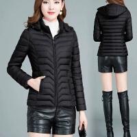 棉衣女短款韩版女士轻薄小棉袄20*码妈妈装冬季外套女 L 90-105斤