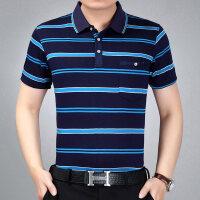 中年男�b爸爸短袖T恤男夏中老年人polo衫夏�b冰�z半袖衫夏天上衣