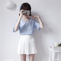 洛丽塔Lolita夏季新款女装韩版学院风短袖上衣百褶裙两件套女可爱显瘦裙子套装 均码
