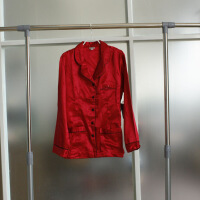内衣睡衣上装原单红色本命年仿真丝上衣上装睡衣家居服 红色