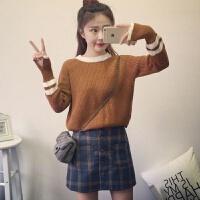秋冬装韩版学院风圆领条纹套头毛衣女宽松百搭针织衫上衣外套 均码