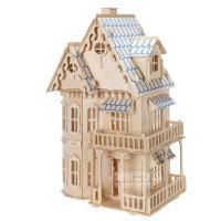 木质建筑模型房子成人3d立体拼图手工制作拼装哥特式大别墅puzzle
