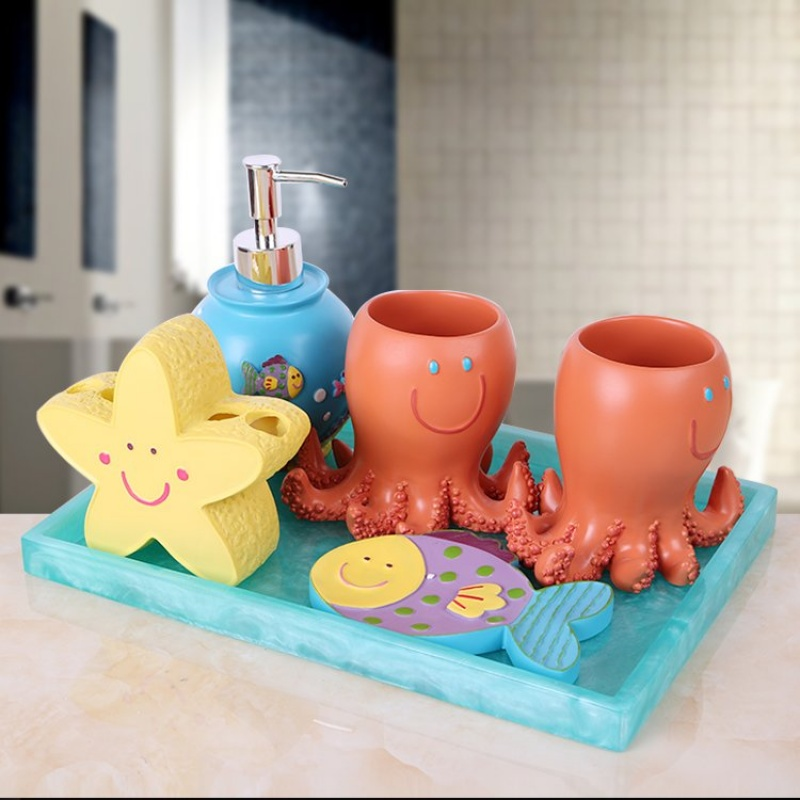 卫浴五件套洗漱套装欧式漱口杯卫生间装饰品摆件情侣刷牙杯牙刷架