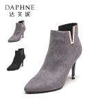 Daphne/达芙妮秋冬短靴女尖头细高跟鞋时尚水钻V字装饰短筒靴女