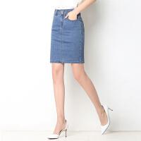后开叉牛仔裙女夏薄款韩版包臀裙中长裙高腰短裙半身裙弹力一步裙 浅蓝色 后开叉