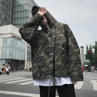 迷彩外套男飞行员夹克网红同款韩版潮流ins学院风古着hiphop学生