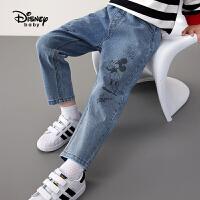 【3件3折券后价:88.3元】迪士尼童装男童秋装牛仔长裤2021春秋新款洋气儿童卡通时尚裤子潮