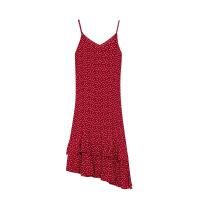 女士连衣裙女2019新款V领吊带连衣裙女不规则长裙 红色