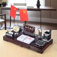 老板办公室桌面木质摆件创意摆设台历架定制文台笔筒商务礼品 诚信共赢60x30cm