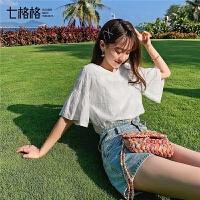 七格格白色蕾丝上衣女2019新款夏装韩版宽松显瘦短袖v领娃娃小衫