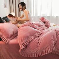 水晶家纺商场同款加厚报名宝宝绒双层花边床上四件套珊瑚绒法兰绒床单被套秋冬床品