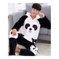 情侣睡衣冬季珊瑚绒可爱黑白熊猫卡通男士睡衣秋女加厚家居服套装 K 930 男款(绒)