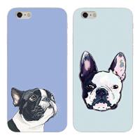 可爱卡通狗iPhone7plus手机壳8p斗牛犬苹果6s防摔硅胶X保护套情侣