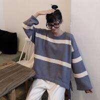 学院风甜美条纹系带毛衣女学生秋冬圆领韩版宽松百搭显瘦针织衫潮