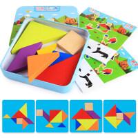 婴幼儿木制拼图 木质儿童七巧板智力拼图小学生百变彩色积木玩具2-3-6岁