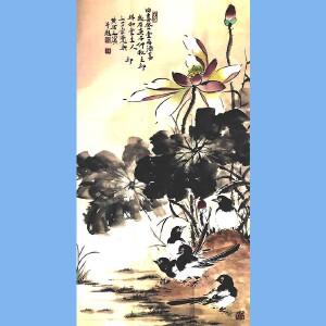 河南美术家协会会员,新乡市美协会员,河南国画轩画廊特约画家武三丁(四喜登堂再添喜)