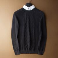 秋季新款假两件薄毛衣男青年韩版潮流衬衫领针织衫男式休闲毛线衣