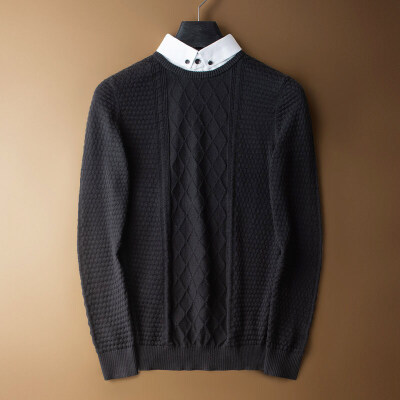 秋季新款假两件薄毛衣男青年韩版潮流衬衫领针织衫男式休闲毛线衣 发货周期:一般在付款后2-90天左右发货,具体发货时间请以与客服协商的时间为准
