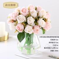 家用小清新12头把束仿真玫瑰花假花绢花艺装饰餐桌婚庆新娘手捧花束SN4920