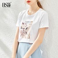 【超品叠券预估价:83】OSA女士白色短袖T恤夏季2020年新款流行时尚显瘦短款t��上衣ins潮