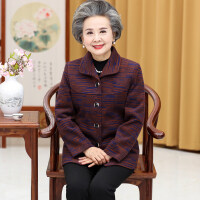 中老年人春装女妈妈毛呢外套短款60-70-80岁奶奶春秋薄款老人衣服