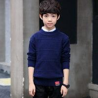 儿童毛衣秋冬加绒加厚套头打底衫中大童圆领针织衫