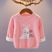 童装女宝宝毛衣加绒加厚012345岁秋冬儿童线衣婴儿套头外套打底衫