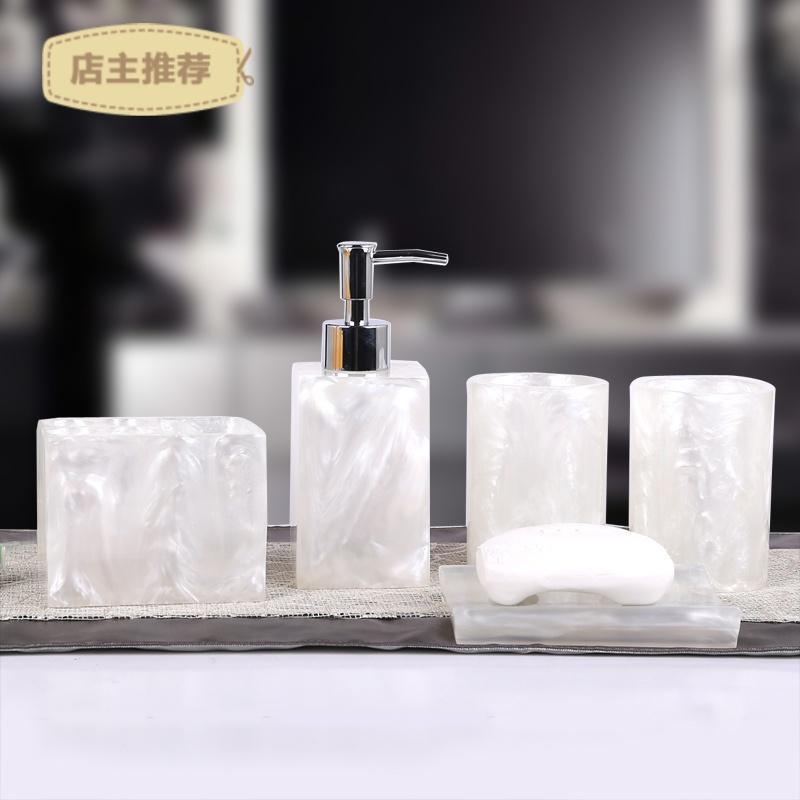 卫浴五件套树脂欧式简约酒店洗漱套装创意浴室用品套件卫生间摆件SN3326