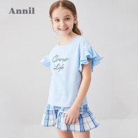 安奈儿女童短裙套装2020年新款夏季洋气T恤半身裙两件套中大童夏5