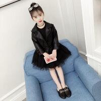 女童皮衣外套2019新款春装韩版时髦洋气套装裙子中大童两件套裙潮