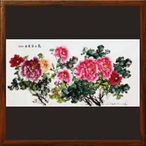 横幅牡丹《花开富贵来》何万福 R4792 中国美术艺术家协会理事 书画研究院艺委会委员