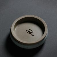 粗陶壶承陶瓷开片建水陶瓷茶壶储水小盘干泡盘茶托复古壶托 苏打烧壶承15.6X15.6X6