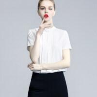 衬衫女夏小领结OL通勤修身纯色雪纺衫上衣打底衫短袖白色工装夏