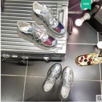 百搭潮款水晶鞋彩色亮片透明果冻底系带厚底松糕坡跟老爹鞋运动鞋网红女鞋
