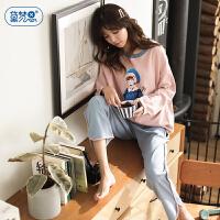 睡衣女秋长袖纯棉甜美可爱套装春秋季新款韩版学生清新家居服全棉
